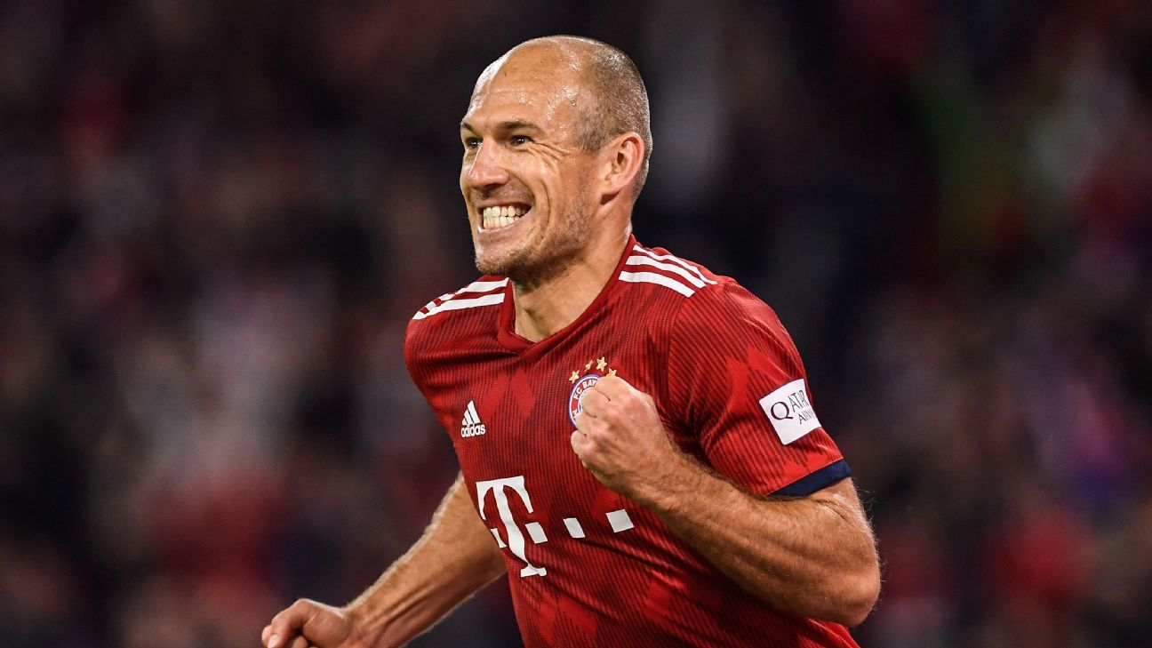 Arjen Robben celebrates after scoring in Bayern Munich's Bundesliga win over Hoffenheim.
