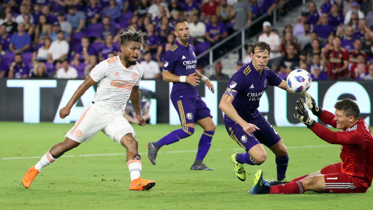 Josef Martinez scores in Atlanta United's MLS match at Orlando City.