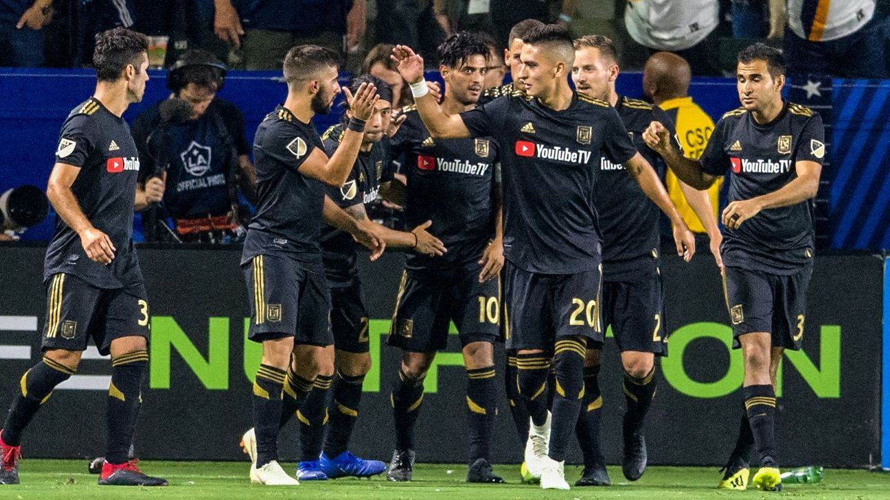 LAFC players celebrate after Carlos Vela's goal in LAFC's MLS draw at LA Galaxy.