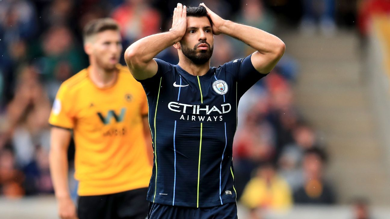 Manchester City's Sergio Aguero reacts after a chance on goal.