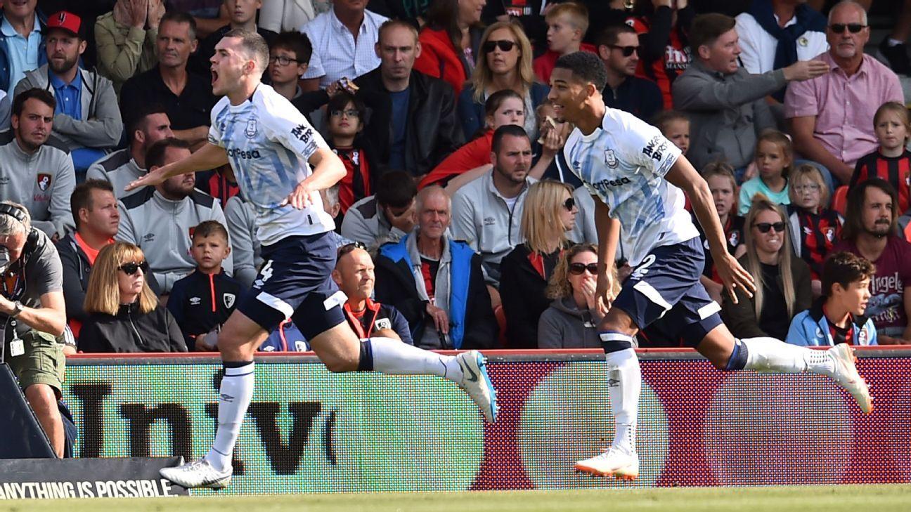 Michael Keane celebrates scoring Everton's second at Bournemouth.