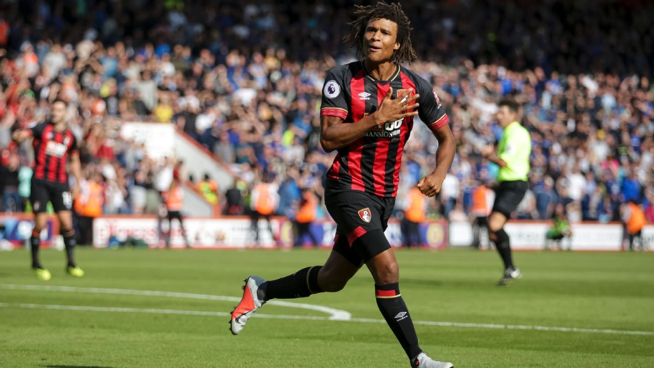Nathan Ake of Bournemouth celebrates after scoring a goal to make it  2-2.