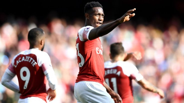 Danny Welbeck of Arsenal celebrates after scoring.