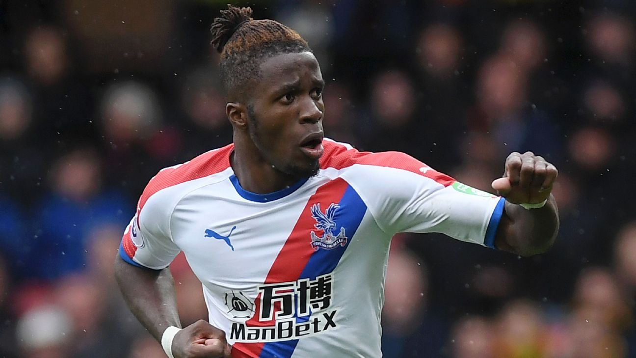 Wilfried Zaha of Crystal Palace celebrates after scoring at Watford.