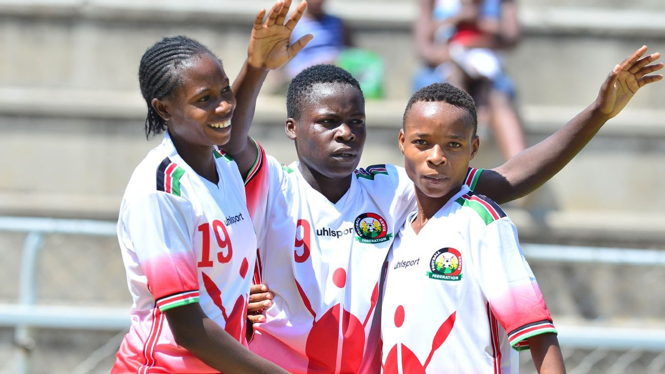 Neddy Okoth of Kenya celebrates a goal with teammates during the 2017 COSAFA Women's Championship