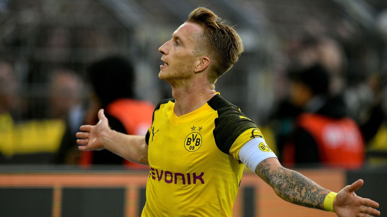 Marco Reus celebrates after scoring in Borussia Dortmund's Bundesliga win over RB Leipzig.
