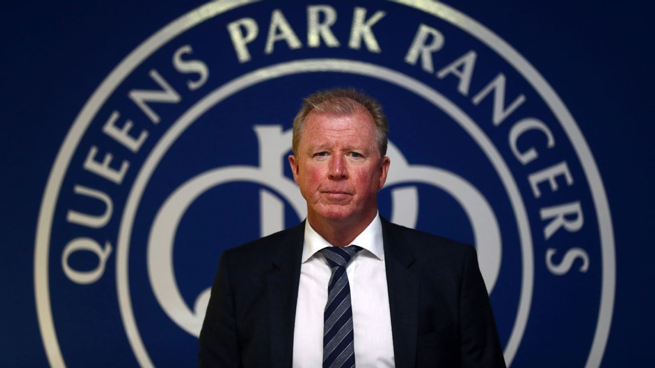 Steve McClaren poses for photos after being introduced as the new Queens Park Rangers manager.