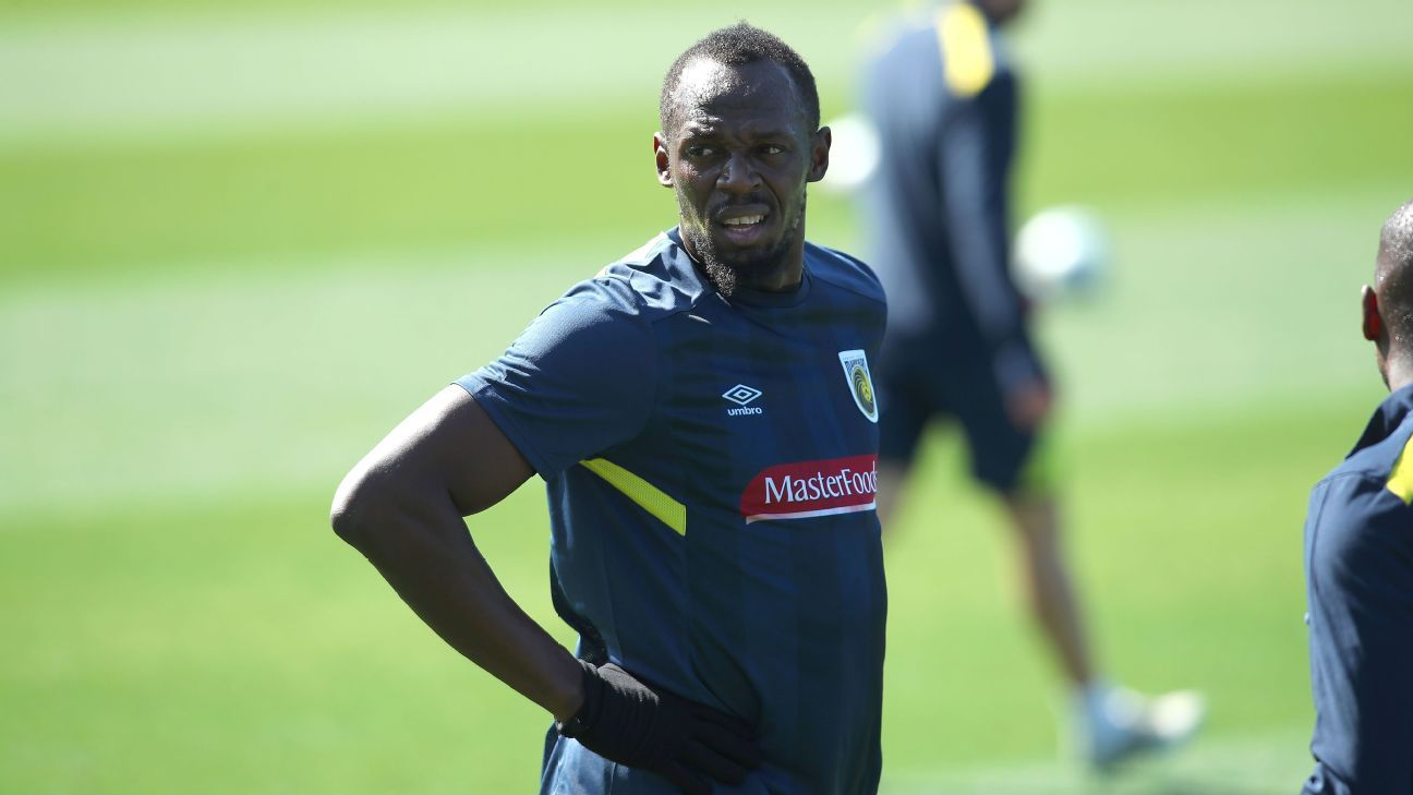 Usain Bolt during his first training session with the Central Coast Mariners.