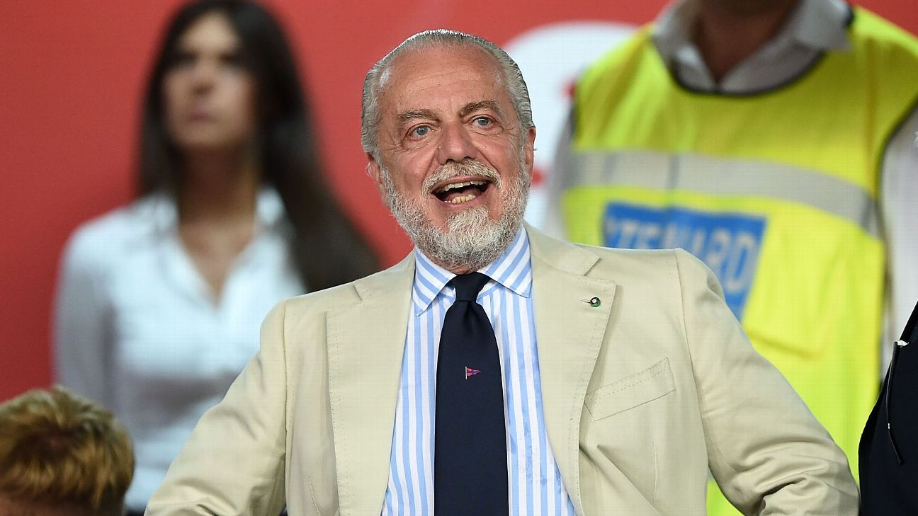 Napoli president Aurelio De Laurentiis prior to a preseason friendly against Nice.