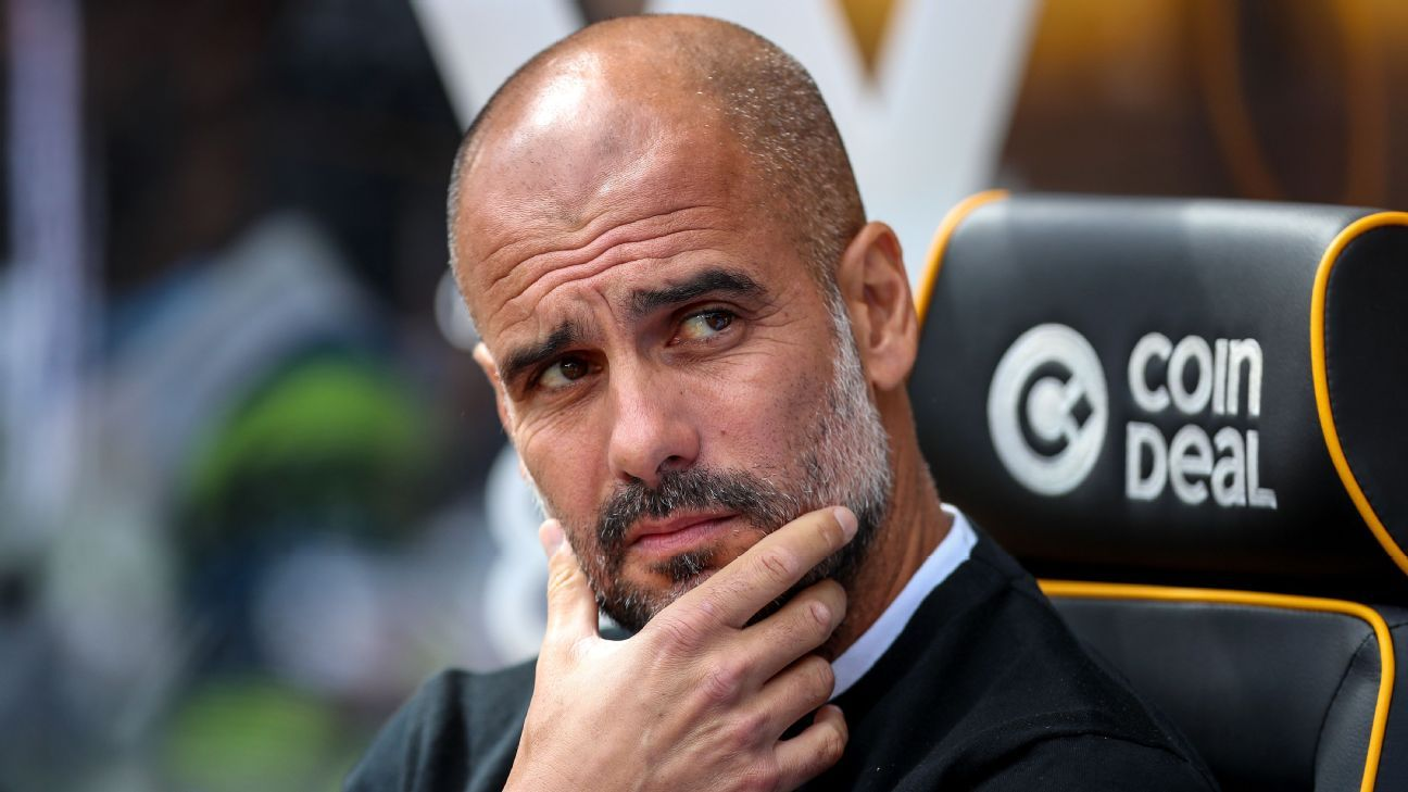Manchester City manager Pep Guardiola during a Premier League game against Wolverhampton Wanderers.