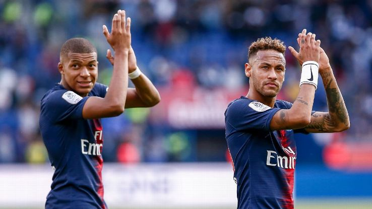 Paris Saint-Germain's Kylian Mbappe, left, and Neymar.