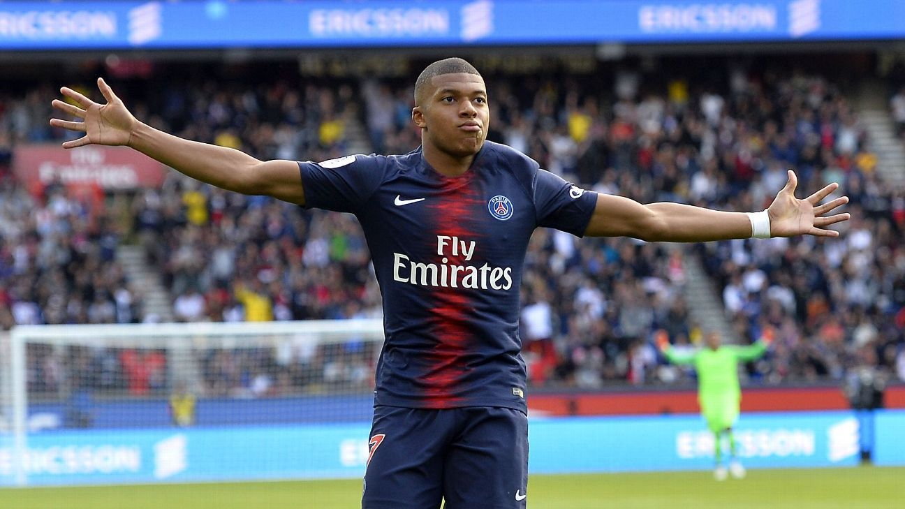 PSG's Kylian Mbappe celebrates his goal during a Ligue 1 game against Angers.