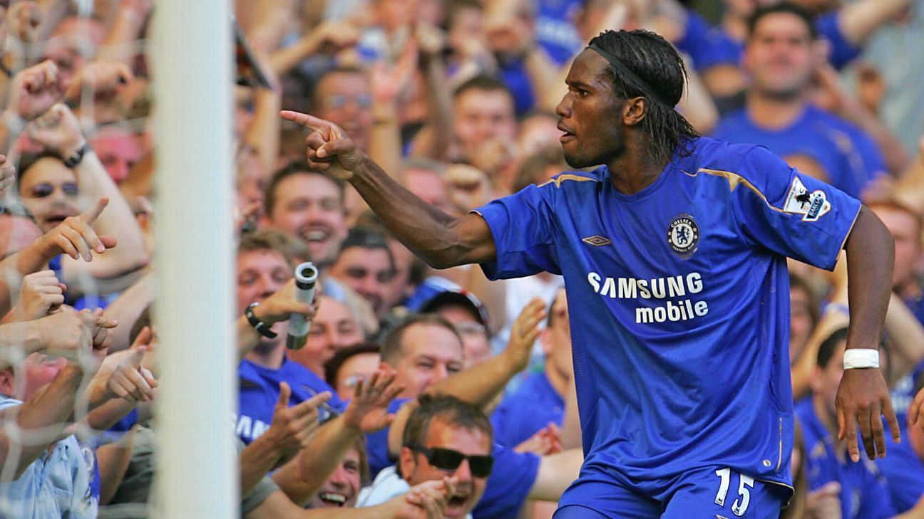 Didier Drogba celebrates after scoring in Chelsea's Premier League win over Arsenal.