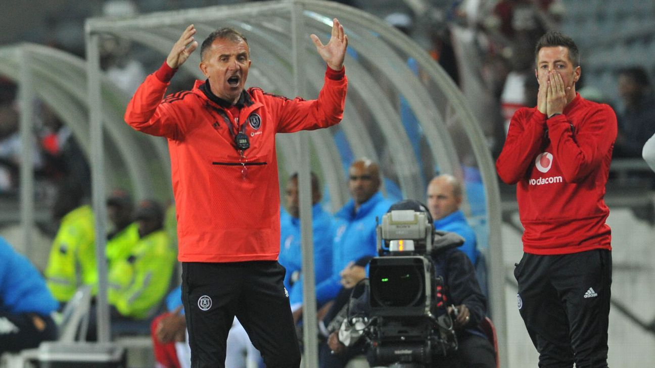 Orlando Pirates' lack of goals has left head coach Milutin Sredojevic (left) and his technical staff like goalkeeper coach Andrew Sparkes exasperated