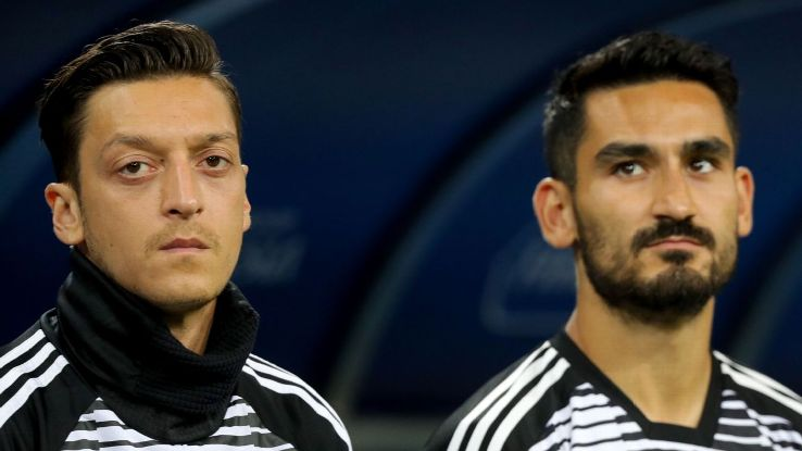 Germany's Mesut Ozil, left, and Ilkay Gundogan during the World Cup game against Sweden.