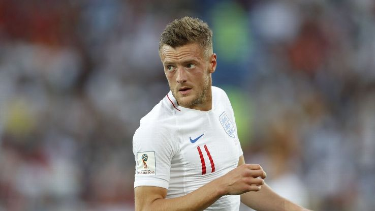 England's Jamie Vardy during the World Cup group-stage game against Belgium.