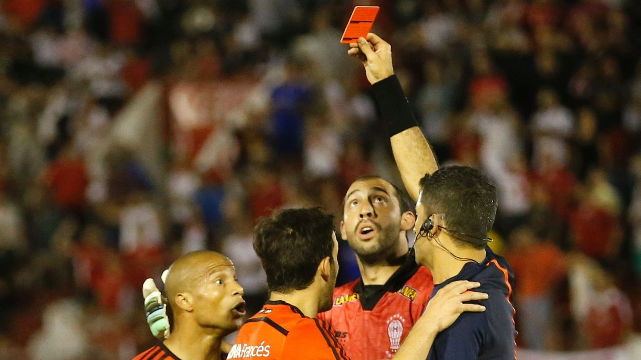 River Plate's Carlos Sanchez is shown a red card in 2015 Copa Sudamericana match