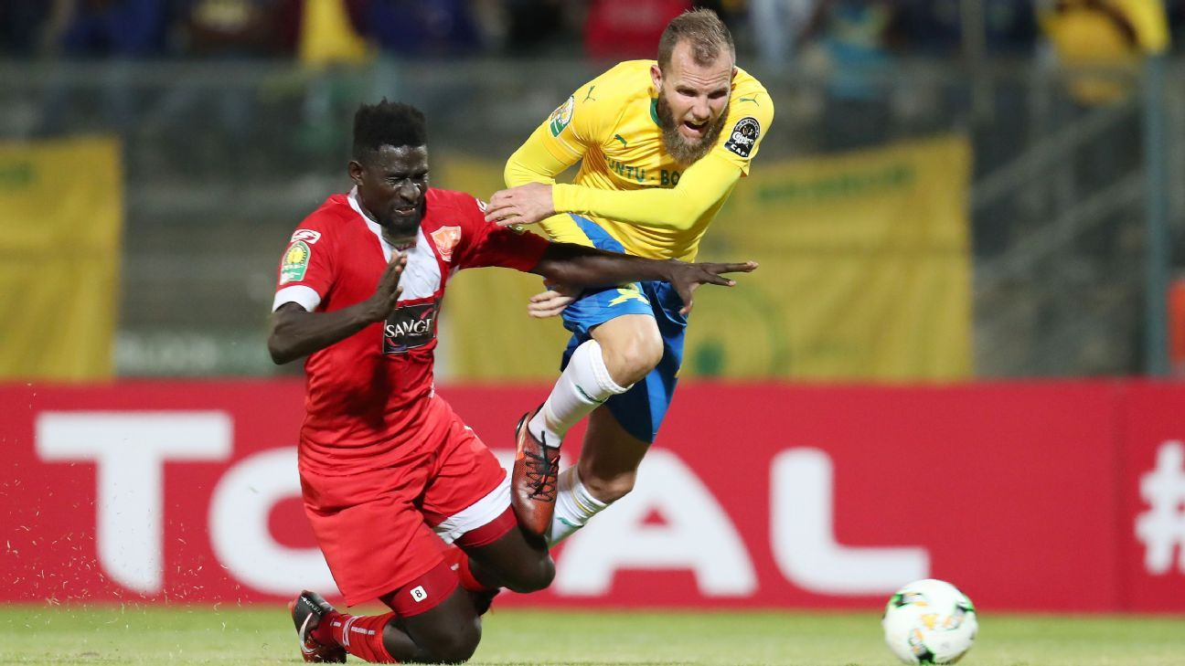Jeremy Brockie of Mamelodi Sundowns fouled by Aboubacar Camara of Horoya during their 2018 CAF Champions League match