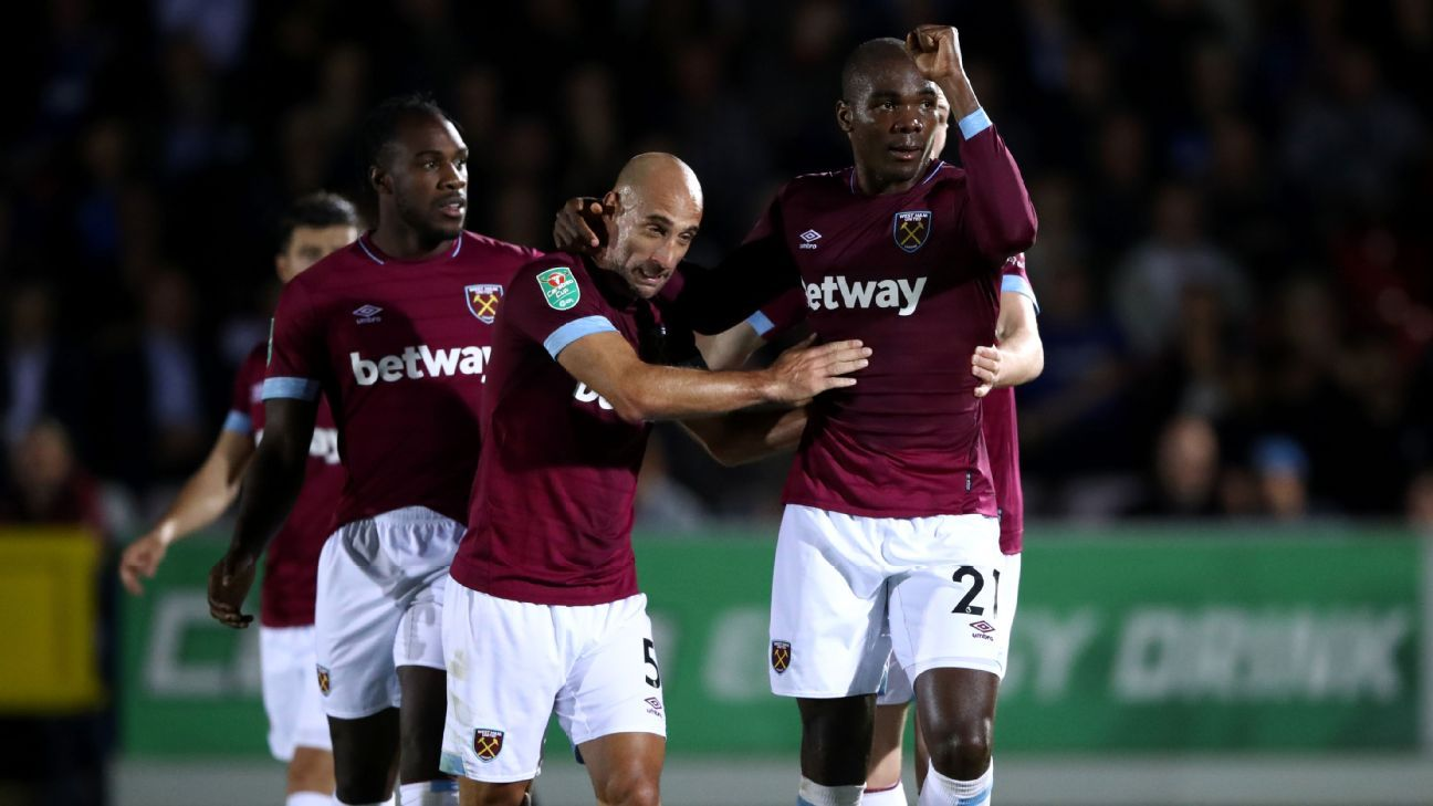 West Ham defender Angelo Ogbonna celebrates his goal in EFL Cup action on Tuesday.