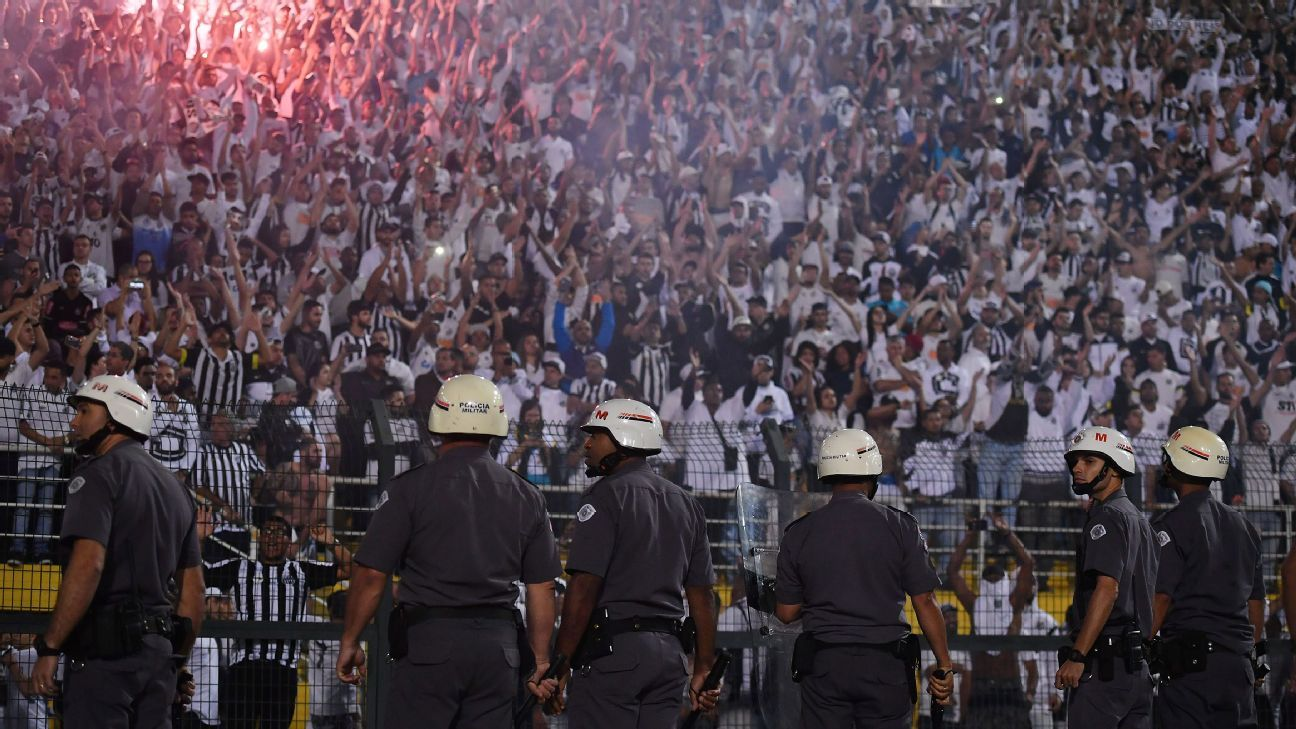 Riot police were needed at the Copa Libertadores match between Santos and Independiente on Tuesday.