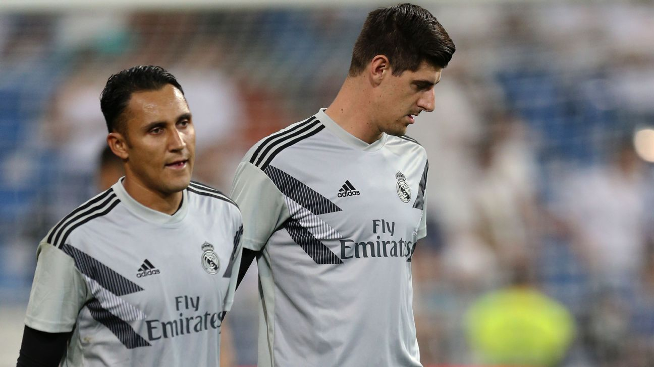Thibaud Courtois, right, and Keylor Navas.