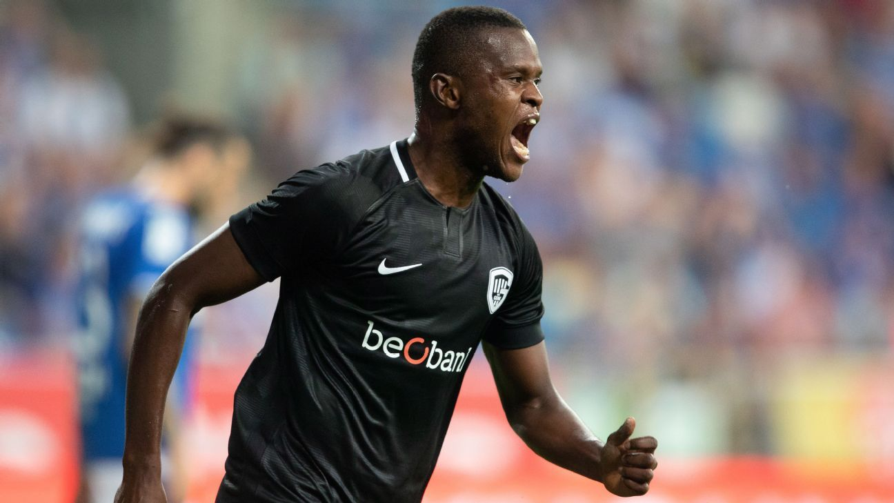 Mbwana Samatta of Genk and Tanzania celebrates a goal