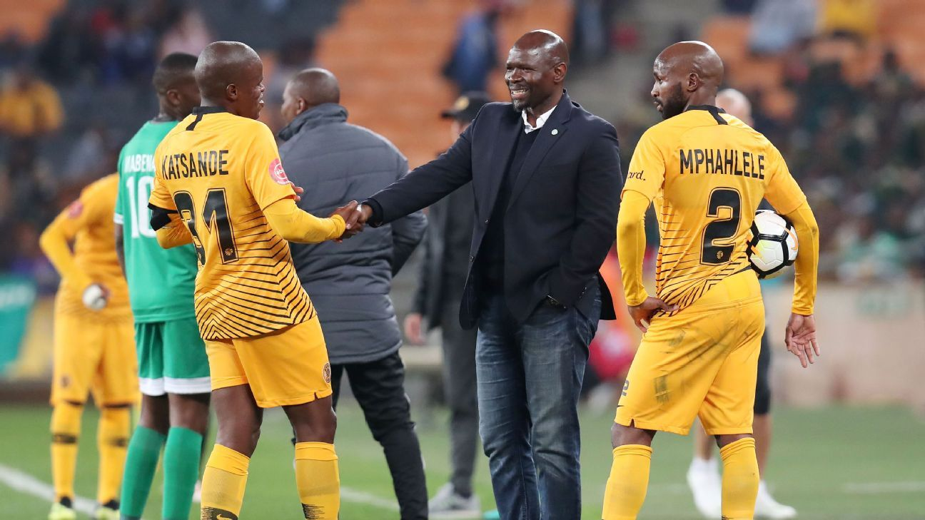 Bloemfontein Celtic coach Steve Komphela in action against his former team Kaizer Chiefs