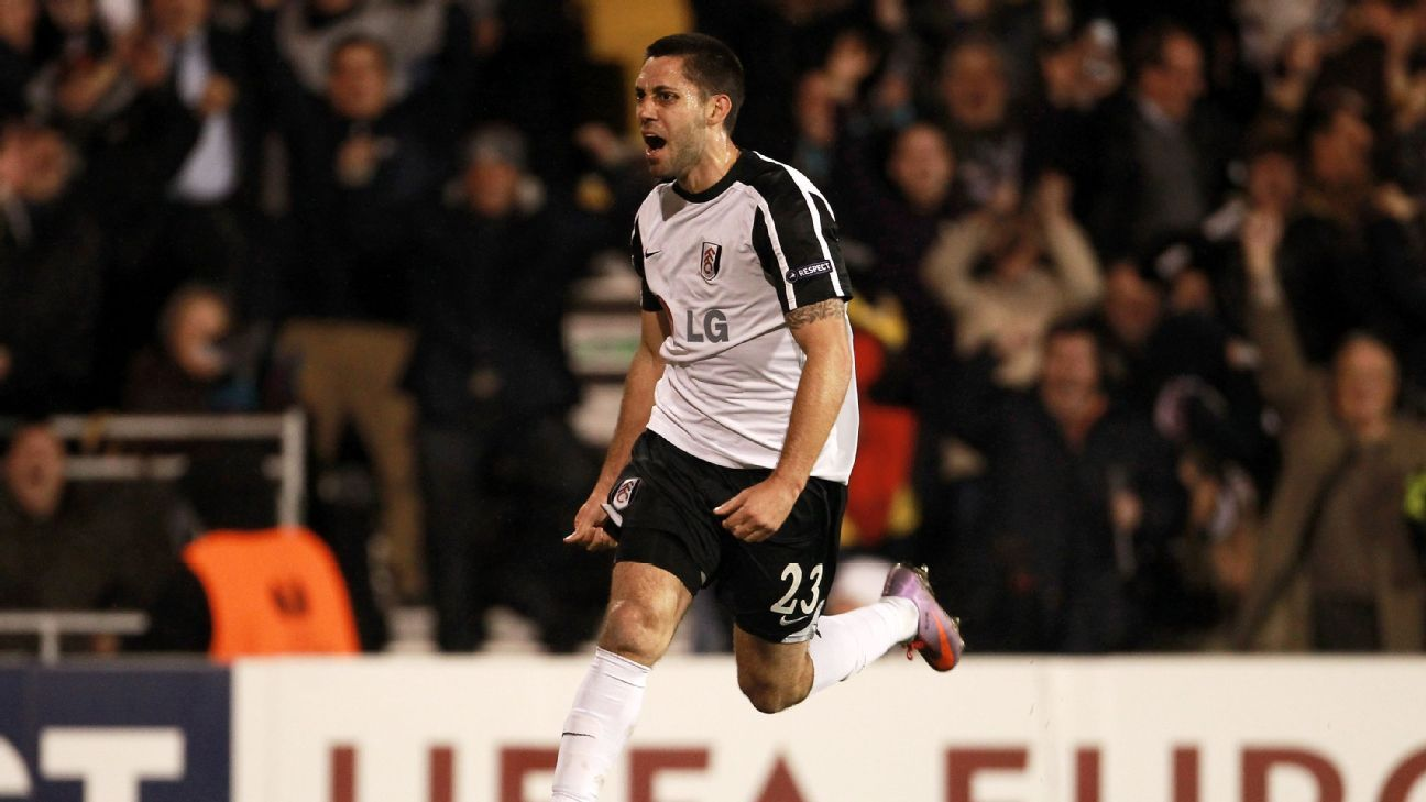 Clint Dempsey celebrates after scoring a goal for Fulham against Juventus in the Europa League.