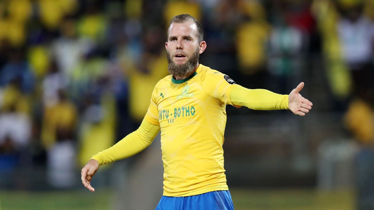 Jeremy Brockie in action for Mamelodi Sundowns during the 2018 CAF Champions League