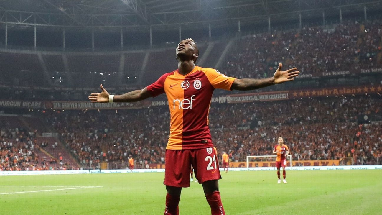 Henry Onyekuru of Galatasaray celebrates after scoring a goal in the Turkish Super Lig, and will hope that form carries over to the Champions League.