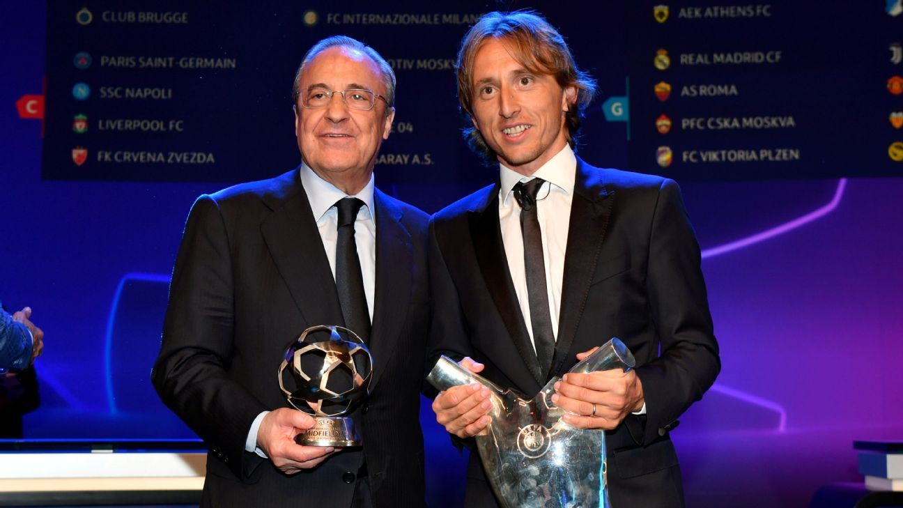 Florentino Perez and Luka Modric at the Champions League group stage draw.