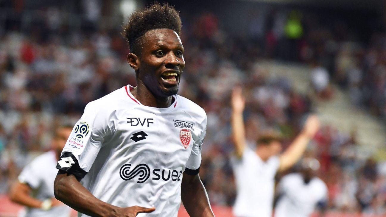 Dijon's Jules Keita celebrates a goal