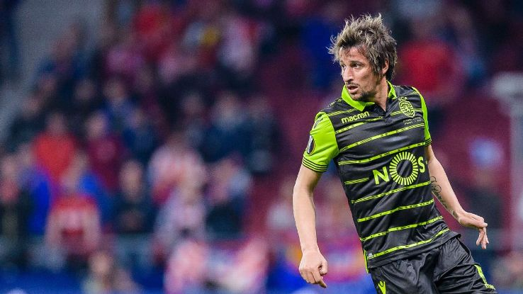 Fabio Coentrao during the first leg of Sporting Lisbon's Europa League quarterfinal against Atletico Madrid.