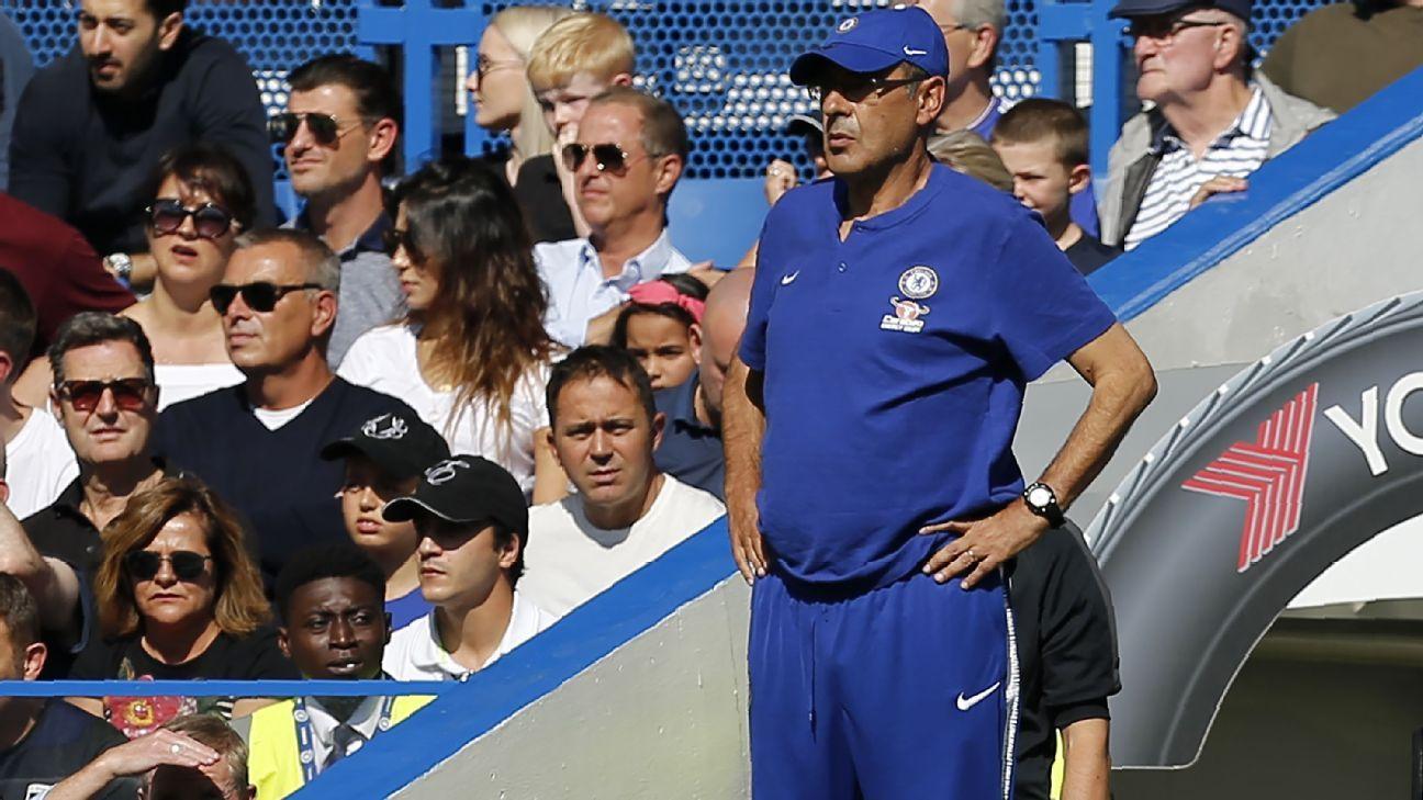Maurizio Sarri during Chelsea's Premier League game against Bournemouth.