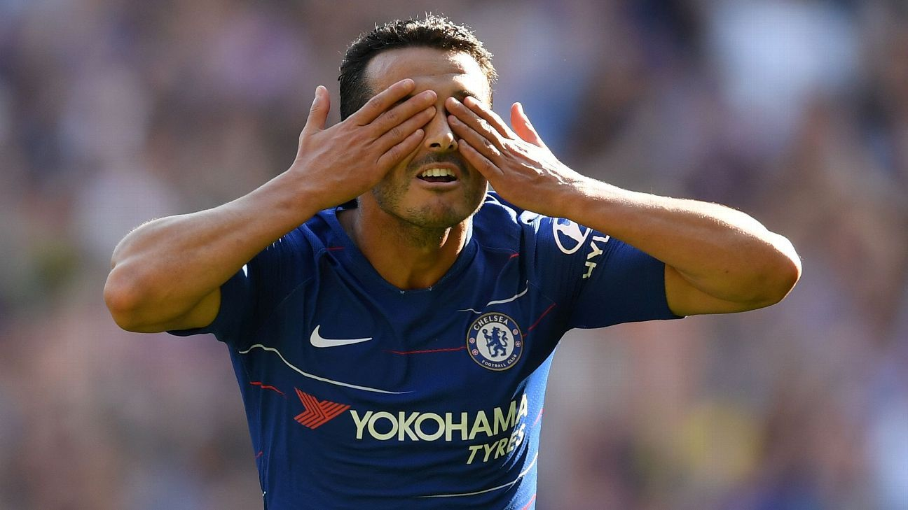 Pedro celebrates after opening the scoring for Chelsea in their Premier League game against Bournemouth.