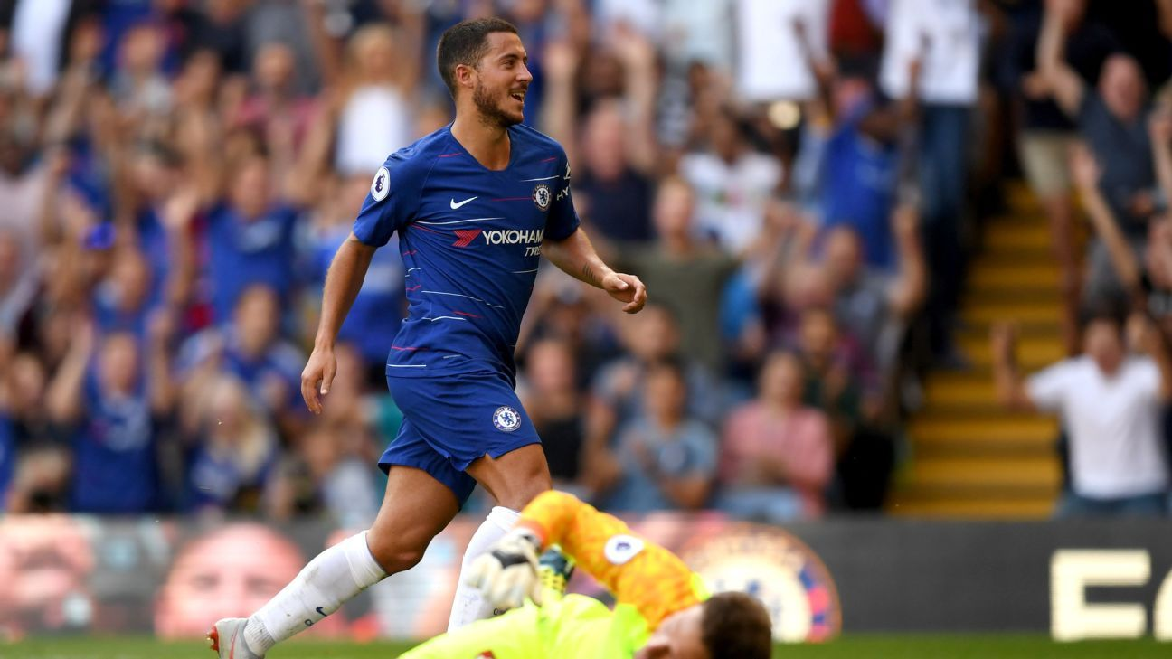 Eden Hazard scores Chelsea's second goal in their Premier League game against Bournemouth.