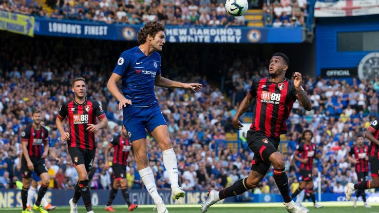 Marcos Alonso in action for Chelsea during their 2-0 Premier League win against Bournemouth.