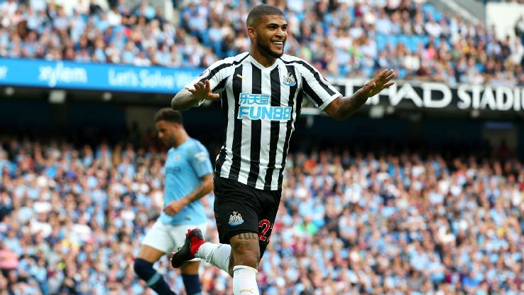 DeAndre Yedlin celebrates after scoring in Newcastle's Premier League match at Manchester City.