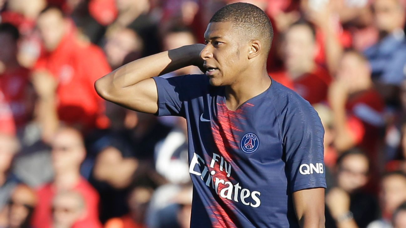Kylian Mbappe was sent off as PSG beat Nimes in Ligue 1.