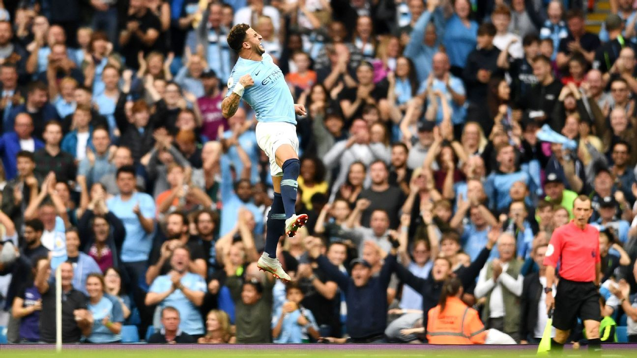 Kyle Walker celebrates after scoring the winner in Manchester City's Premier League victory over Newcastle.