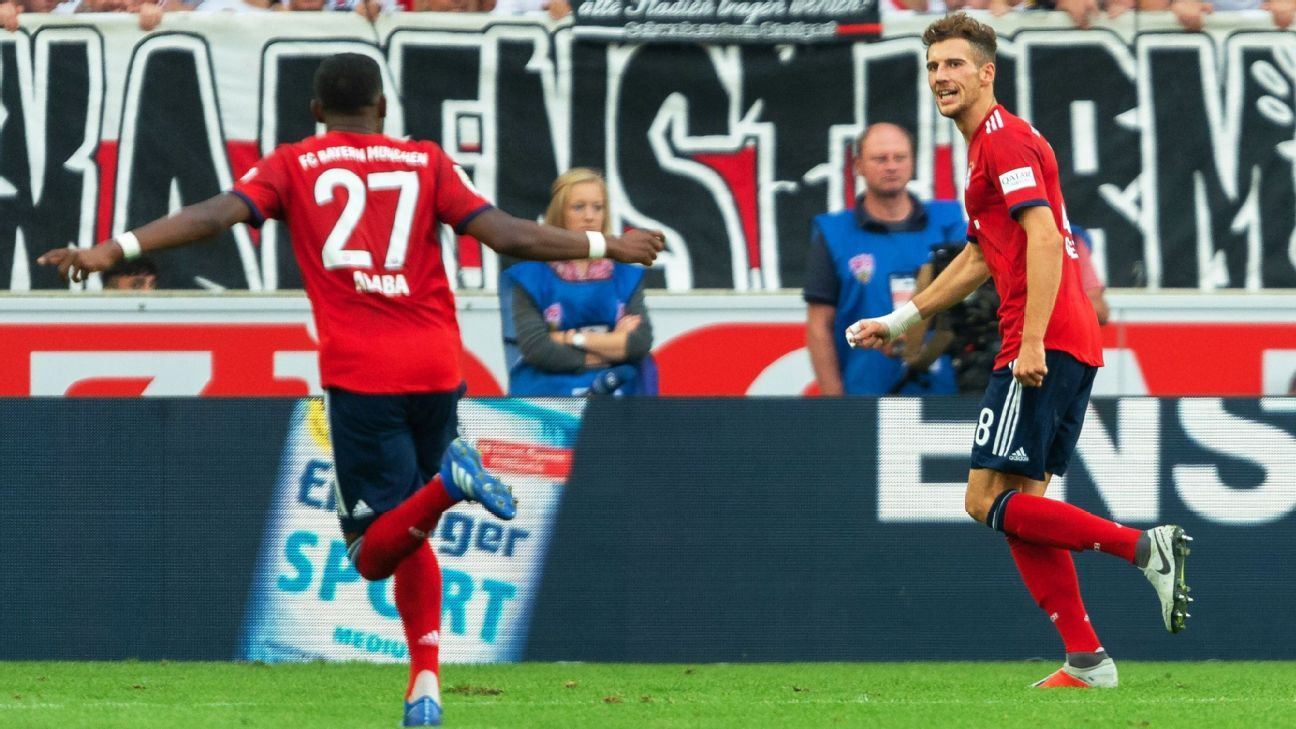 Leon Goretzka celebrates after scoring in Bayern Munich's Bundesliga win over Stuttgart.