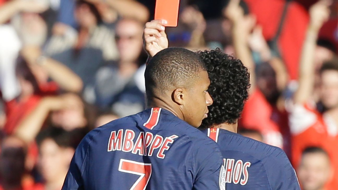 Kylian Mbappe received a red card against Nimes.