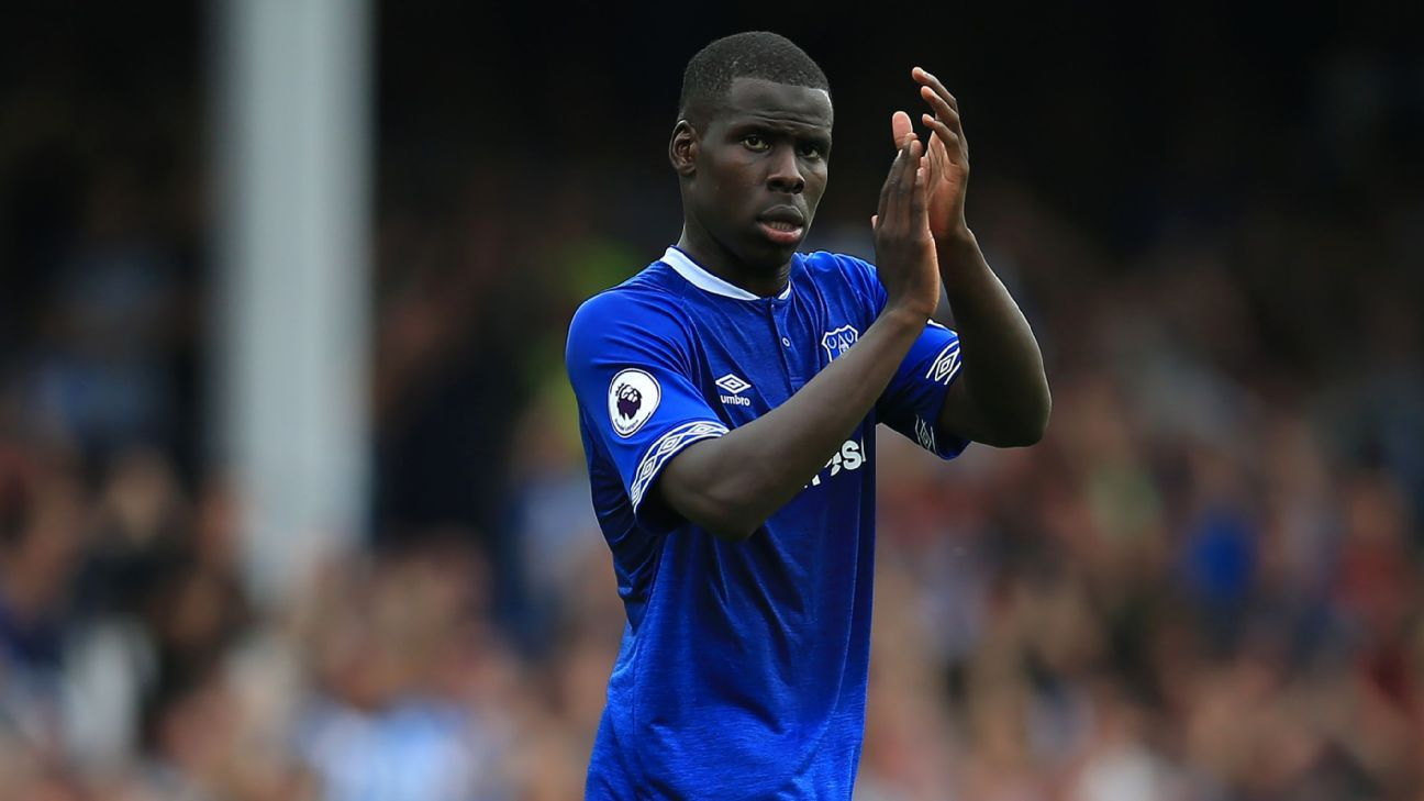 Kurt Zouma applauds supporters after Everton's 2-2 Premier League draw with Huddersfield Town.
