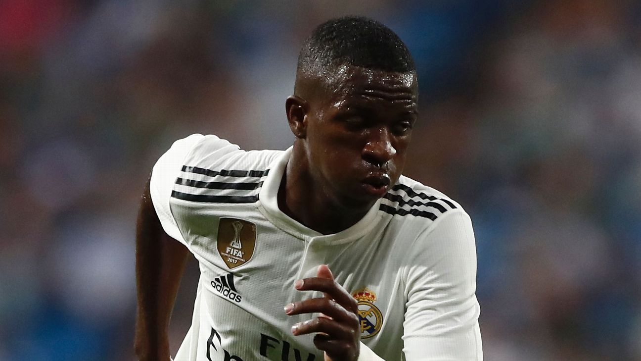 Real Madrid's Vinicius Jr. during a friendly against AC Milan.