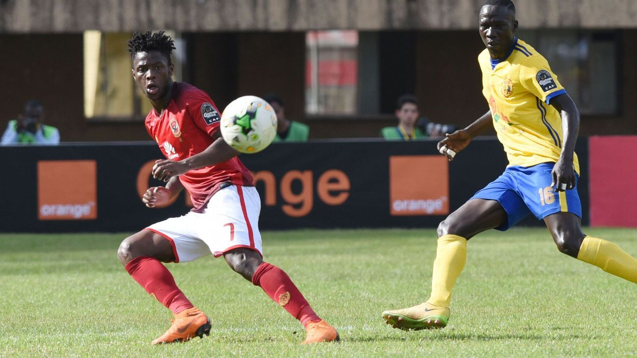 One of Phakamani Mahlambi's 15 appearances for Al Ahly -- before his return to South Africa -- came in the CAF Champions League against Uganda's Kampala CC.