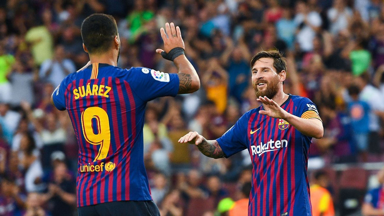 Lionel Messi and Luis Suarez were way too much for new boys Huesca, scoring eight times.