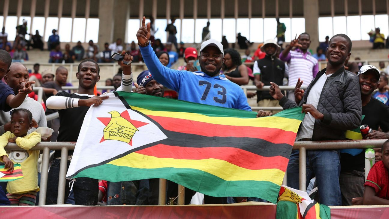 Zimbabwe supporters cheer on their team