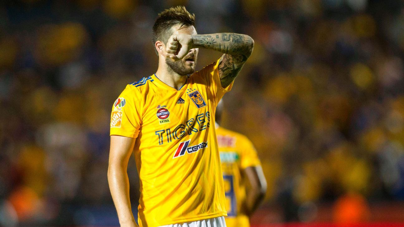 Tigres star Andre-Pierre Gignac scored his league-leading sixth goal against lowly Atlas on Saturday.