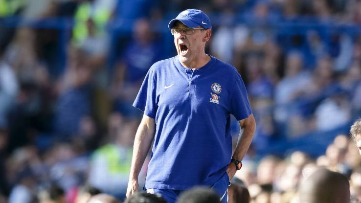 Chelsea manager Maurizio Sarri during a Premier League game against Bournemouth.