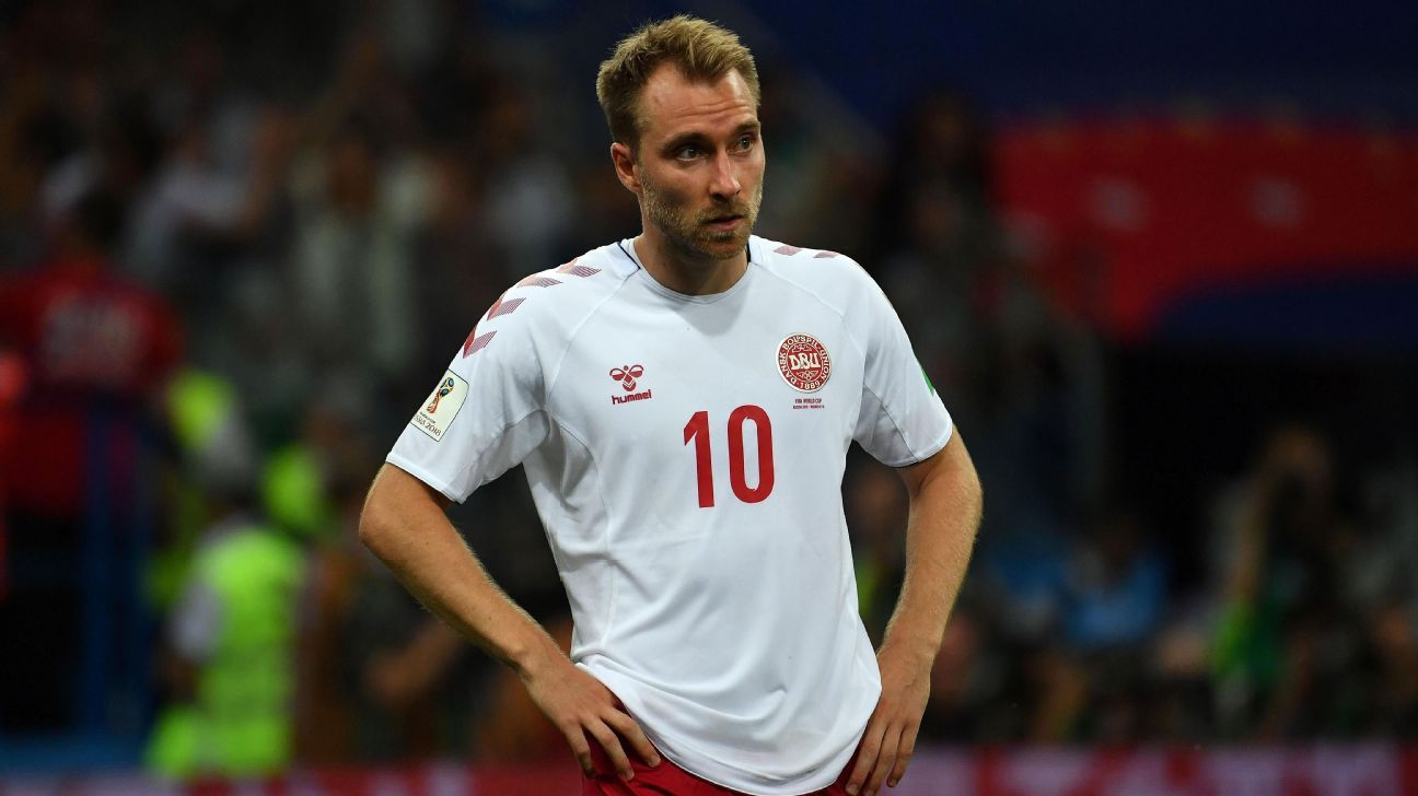 Denmark's Christian Eriksen during the World Cup game against Croatia.